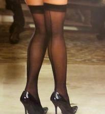 Sheer BLACK THIGH HIGH Highs SEAM BACK 1x 2x 3x PLUS SIZE Ladies Lingerie QUEEN