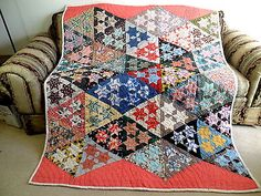 VINTAGE ANTIQUE HANDMADE QUILT SIX POINTED STAR 1930's QUILT FEED SACK NEW OLD S