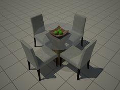 Bloco Sketchup de mesa sala de jantar. Disponível para download no site através da compra da biblioteca completa.