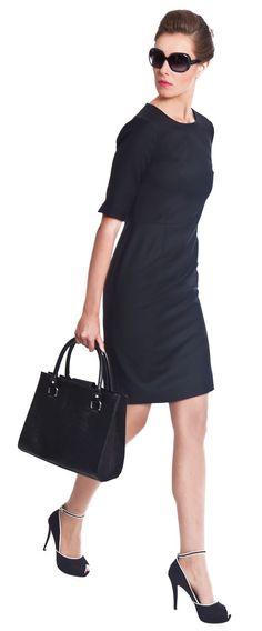 Touran Front - Women's Black or Navy Shift Dress for Work