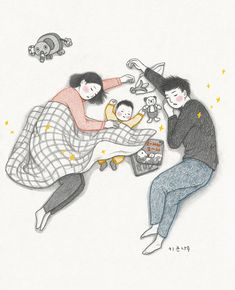 Korean Illustration, Family Illustration, Cute Illustration, Mother And Child Drawing, Mother Daughter Art, Family Drawing, Drawing For Kids, Baby Posters, Cute Couple Art