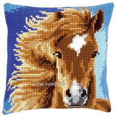 Buy Brown Horse Cushion Front Chunky Cross Stitch Kit Online at www.sewandso.co.uk