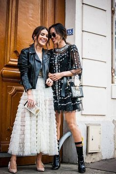 Camila Coelho and Aimee Song are seen in the streets of Paris after the Christian Dior show during Paris Fashion Week Fall/Winter March 2017