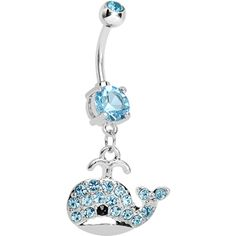 Light Blue Gem Whale Dangle Belly Ring   Body Candy Body Jewelry