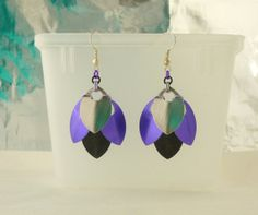 Silver Purple and Black Scale Maille Earrings  2 by EcceRose, $10.00
