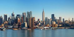 Picture of New York City panorama with Manhattan Skyline over Hudson River. stock photo, images and stock photography. Manhattan Skyline, Manhattan Map, New York Skyline, New York City Map, City Maps, Brooklyn, Nyc, Last Minute Travel Deals, A New York Minute