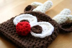 Free+Reindeer+Crochet+Hat+Patterns | Crochet Reindeer Hat, photo prop, rudolph red nose, brown, cream, 12 ...