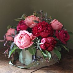 The Real Flower Company English Peony & Romantic Antique Hat Box Arrangement