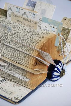 The White Bench: My Book of Grace - a neat twist on the vintage book card holder. Book Page Crafts, Book Page Art, Altered Books, Altered Art, Book Sculpture, Paper Sculptures, Folded Book Art, Book Folding, Paper Art