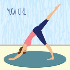 beautiful young girl practicing yoga in the gym vector art illustration