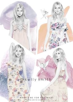 Birdy & Me : Illustrations & Musings by Kelly Smith. Kelly Smith, Fashion Sketchbook, Fashion Sketches, Fashion Art, Fashion Beauty, Fashion Design, Beauty Illustration, Illustrations And Posters, Fashion Illustrations