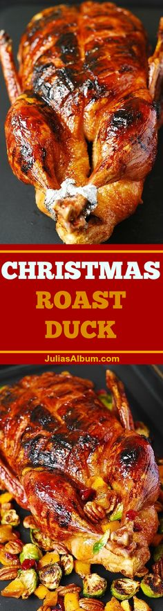 Step-by-step photos on how to cook duck. Juicy meat, crispy skin glazed with the. Step-by-step photos on how to cook duck. Juicy meat, crispy skin glazed with the honey-balsamic glaze. Roasted Duck Recipes, Meat Recipes, Chicken Recipes, Chicken Ideas, Christmas Roast Duck, How To Cook Duck, How To Roast Duck, Ayurveda Lifestyle, Goose Recipes