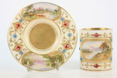 ANTIQUE COALPORT MINIATURE JEWELLED AGATE CUP & SAUCER PAINTED ENGLISH VIEW T202