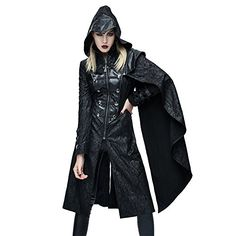 Steampunk Women Trench Coats Hoodies Wind Long Coat Gothic Polyester Causal Jacket (XXL)