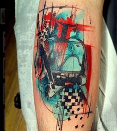 Boba-Fett tattoo. Combining geometric shapes, abstractions, and Star Wars... Awesome Nerd Alert!