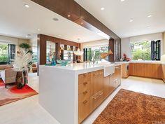 Modern Kitchen with U-shaped, Farmhouse sink, High ceiling, Kitchen island, Limestone counters, Flush, Glass panel