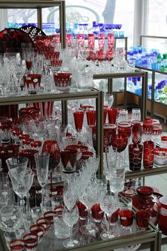 Hungarian Ajka Crystal shop: unique hand cut, painted and color combined crystals