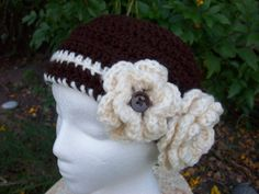 Coffee Brown Crochet Hat with Cream Flowers by AngieHallHaviland, $12.00