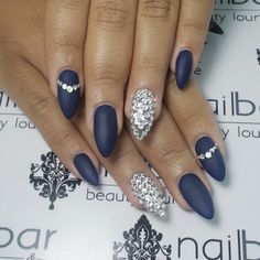 Navy blue stiletto nails
