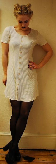 dress, vintage, grunge, 90s, spice girl, clueless, rib pattern material, beige