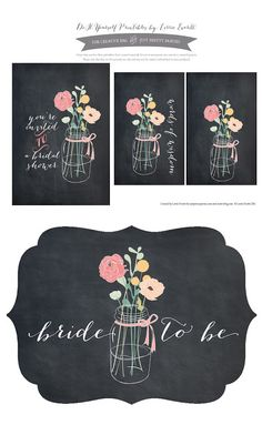 Mason Jars & Chalkboard DIY Turotial and free download for bridal showers #masonjar #chalkboard #diy