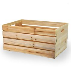 Natural Wooden Storage Crate with In-Handles - Extra Large 19in
