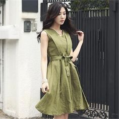 Buy 'Romantic Factory – Sleeveless Line A-Line Dress with Sash' with Free International Shipping at YesStyle.com. Browse and shop for thousands of Asian fashion items from South Korea and more!