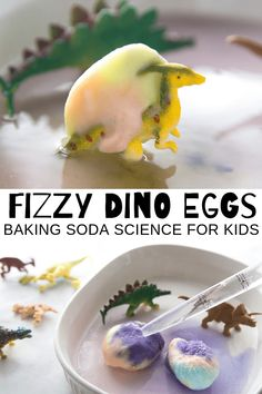 Hatching Dinosaur Eggs For Fizzy Science - Kids Ideas, Dinosaur Theme Preschool, Preschool Science Activities, Easy Science, Science Experiments Kids, Science For Kids, Toddler Activities, Dinosaur Crafts For Preschoolers, Science Centers, Summer Science