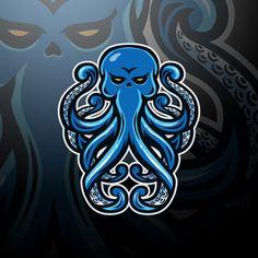 Kraken Logo, Logo Esport, Fantasy Football Logos, Dungeons And Dragons Miniatures, Octopus Design, Free Characters, Game Logo, Cool Backgrounds, Animal Logo