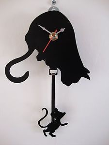 pendulum clock   ... Small Black Metal Cat Kitten & Mouse Pendulum Battery Wall Clock Boxed