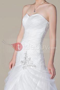 マーメイドのスイートハートコートトラインのビーズウェディングドレス
