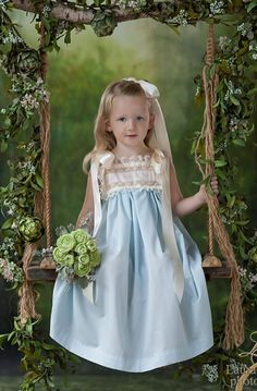 Heirloom Dress with Swiss Insert, French Lace and Satin Ribbon By Pure Elegance Cute Little Girls Outfits, Little Girl Dresses, Kids Outfits, Girls Dresses, Flower Girl Dresses, Beautiful Dresses, Nice Dresses, Baby Blue Weddings, Christening Gowns