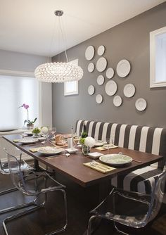 love this black, white and gray dining room with bench! via contemporary dining room by Leslie Goodwin Photography