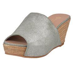 0d32d44f9ca79b Eric Michael Women s Eloisa Jungle Silver Platform Wedge Sandals (40 M EU    9.5-