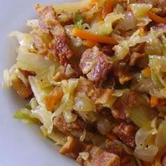 Fried Cabbage with Bacon, Onion, and Garlic | OMG! OMG! OMG! I could NOT stop eating out of the pot!!! Enough said.