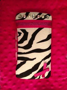 Pink zebra travel baby wipes case