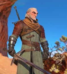 An stylized version of Geralt of Rivia from the Witcher series. This in particular is my take on Witcher III's Geralt, but instead of making him wear the official armor I thought fans would prefer to see some other armor from the game. Viking Character, 3d Character, Character Concept, Concept Art, Witcher Armor, The Witcher 3, The Witcher Wild Hunt, Zbrush, God Of War
