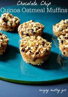 Chocolate Chip Quinoa Oatmeal Muffins- healthy power packed muffins for an easy on-the-go breakfast!
