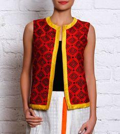 Red Block Printed Cotton Silk Waist Coat