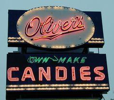 OLIVER'S CANDIES neon sign - Batavia, NY