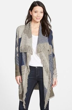 NIC+ZOE 'Blue Waves' Long Cardigan with Fringe available at #Nordstrom