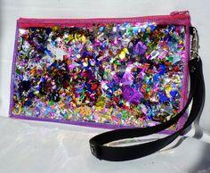 Glitter Clutch Bag, Wristlet in Rainbow Rapture #EasyNip