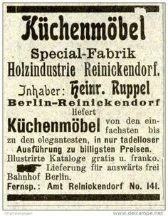 Original-Werbung/Anzeige 1903 - MÖBEL / KÜCHENMÖBEL RUPPEL / BERLIN - REINICKENDORF - ca. 45 x 60 mm