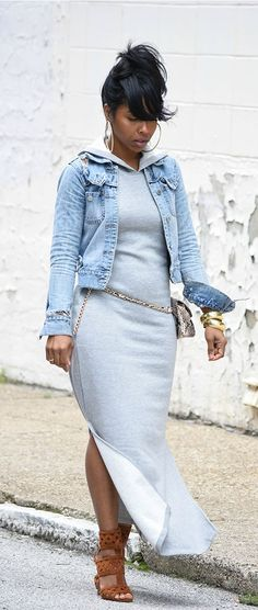 nice Sweenee Style, Spring Outfit Idea, Indianapolis Style Blog, Gray Hooded Dress... by http://www.polyvorebydana.us/curvy-girl-fashion/sweenee-style-spring-outfit-idea-indianapolis-style-blog-gray-hooded-dress/