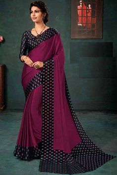 Burgundy chiffon saree with purple satin blouse. Embellished with embroidery. Saree with Sweetheart Neckline, Quarter Sleeve. It comes with unstitched blouse. Chiffon Saree, Silk Sarees, Saree Blouse, Sari, Purple Satin, Pakistani Wedding Dresses, Traditional Sarees, Blouse Online, Burgundy Color