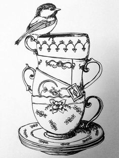 bird on a teacup tattoo - Teacup Tattoo, Marianne Design, Coloring Book Pages, Digi Stamps, Doodle Art, Embroidery Patterns, Tea Party, Tea Cups, Art Drawings