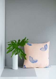 16x16 Peach and Blue Macaroni Print Pillow Cover, linen and cotton
