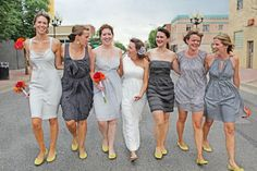 love the grey and yellow combo for the bridesmaids!