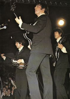John Lennon, Paul McCartney, and George Harrison (Scan - on stage in 1966 (looks like it's from the German leg of the tour, maybe Munich on 24 June)) (Photo: The Beatles Book) (Source- http://thateventuality.tumblr.com/post/28187385096/scan-on-stage-in-1966-looks-like-its-from-the)