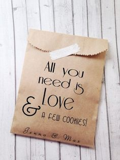 All You Need Is Love Cookie Bags - Pretty Bridal Shower Favors ...